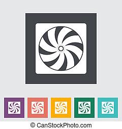 Radiator fan flat icon. Vector illustration.