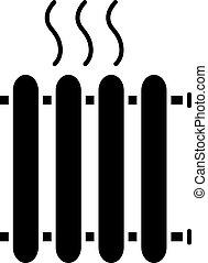 Radiator glyph icon. Heating battery. Heater. Silhouette ...
