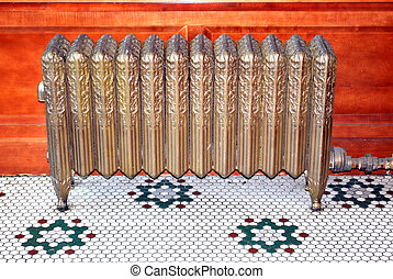 Radiator heater. - Radiator heater on display indoors.