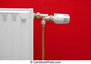 Radiator - Heating radiator detail against red wall