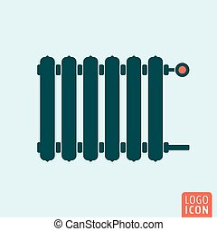 Radiator icon. Heating radiator with adjuster of warming. Vector illustration.