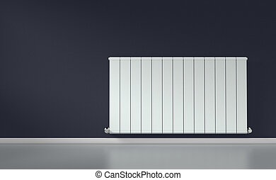 radiator in a room - room with a modern radiator on a dark ...
