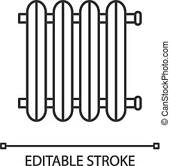 Radiator linear icon. Heating battery. Thin line ...