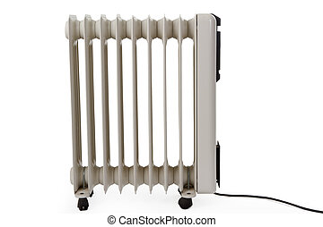 Radiator - Oil electric heater on wheels isolated on white...