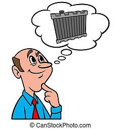 radiator, om, tänkande