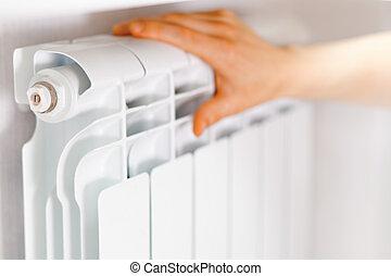 radiator., puesto, brazo, blanco, calefacción