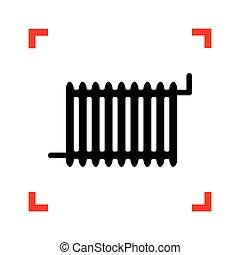 Radiator sign. Black icon in focus corners on white...