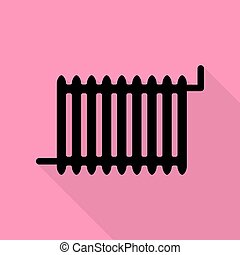 Radiator sign. Black icon with flat style shadow path on pink background.