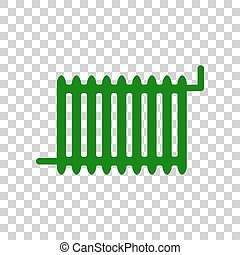 Radiator sign. Dark green icon on transparent background.