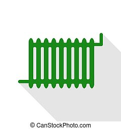 Radiator sign. Green icon with flat style shadow path.