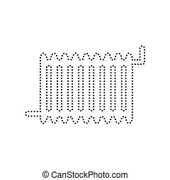 Radiator sign. Vector. Black dotted icon on white background. Isolated.
