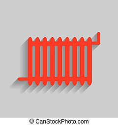 Radiator sign. Vector. Red icon with soft shadow on gray background.