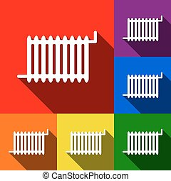 Radiator sign. Vector. Set of icons with flat shadows at red, orange, yellow, green, blue and violet background.