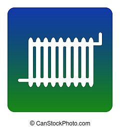 Radiator sign. Vector. White icon at green-blue gradient square with rounded corners on white background. Isolated.