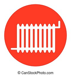 Radiator sign. Vector. White icon in red circle on white background. Isolated.