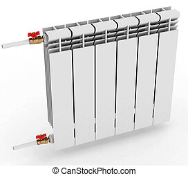 radiator to heat the room, on a white background 3D illustration