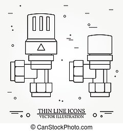 Radiator Valves icons thin line for web and mobile, modern minimalistic flat design. Vector dark grey icon on light grey background. Set.