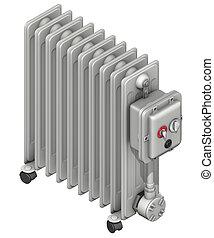 radiator with oil flow - 3d rendering illustration, radiator...