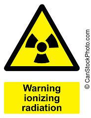radiazione, -, avvertimento, nero, ionizing, fondo, isolato, segno, bianco, giallo