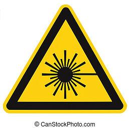 radiazione, triangolo, icona, trave, signage, segno, etichetta, testo, laser, azzardo, isolato, giallo, adesivo, closeup, avvertimento, sicurezza, macro, sopra, potere, grande, pericolo, nero, alto