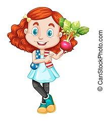 radijsje, klein meisje, vasthouden, rood
