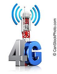 radio, 4g, begriff, kommunikation