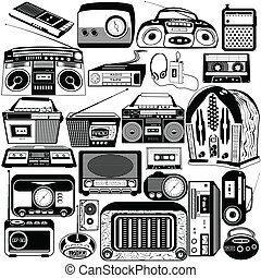 radio and cassette black icons
