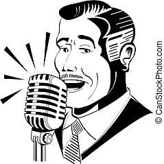Radio announcer on microphone clip art