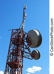 Radio antenna - Huge communication antenna tower and...