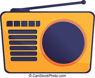 Radio antenna icon, cartoon style