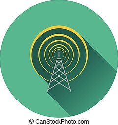 Radio antenna icon. Flat design. Vector illustration.