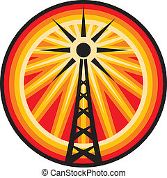 radio antenna symbol (radio translation sign, wi fi icon, radio tower label, connection sign)