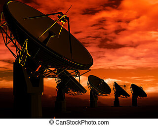Radio antenna - The radio-aerials on a background of the sky