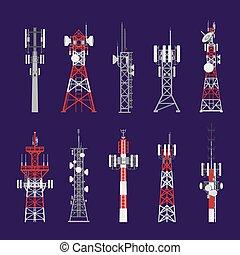 radio, antenne, torens, telecommunicatie, stangen