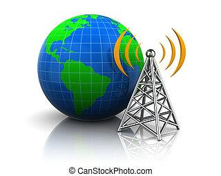 radio, antenne, zu, globus