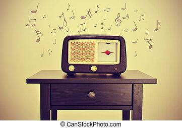 radio antica, e, note musicali