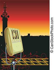 Radio background - Vector illustration vintage microphone on...