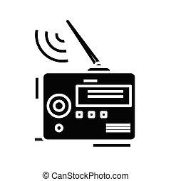 Radio black icon, concept illustration, vector flat symbol, glyph sign.