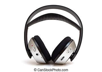 radio, blanco, aislado, auricular