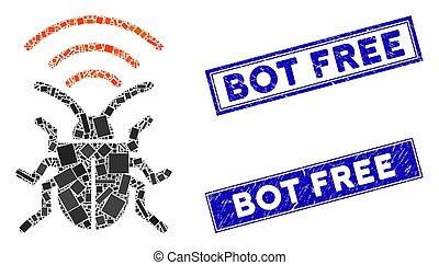 Radio Bug Mosaic and Distress Rectangle Bot Free Seals