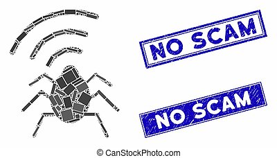 Radio Bug Mosaic and Grunge Rectangle Stamp Seals