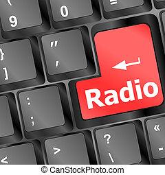 Radio button on a black computer keyboard