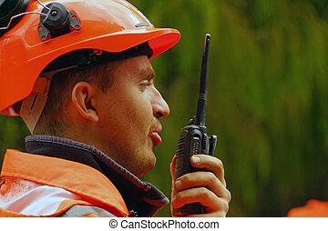 radio call - Man speaking on a shortwave radio