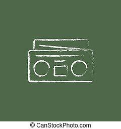 Radio cassette player icon drawn in chalk.