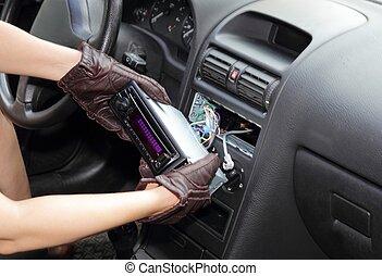 radio coche, ladrón, robar