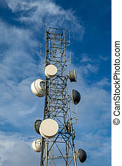 Radio communcations tower isolated against a blue sky