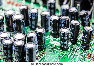 Radio components on a printed circuit board. Photo Close-up