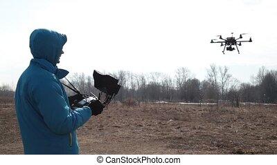 radio, contrôlé, quadcopter., machine., voler, hexacopter