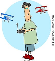 Radio Control Plane - This illustration depicts a boy flying...
