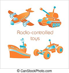 radio-controlled, icone, giocattoli